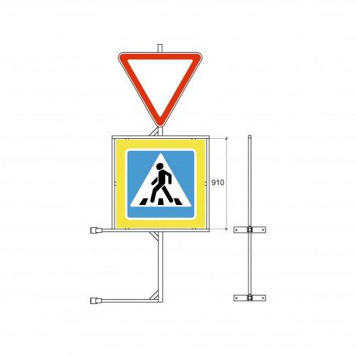 Кронштейн для крепления дорожного знака  5.19 и дополнительного знака  на стойку.