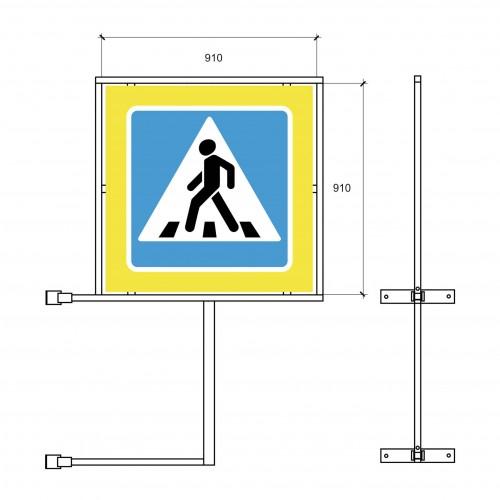 Кронштейн для крепления дорожного знака 5.19 двустоннего на стойку-опору