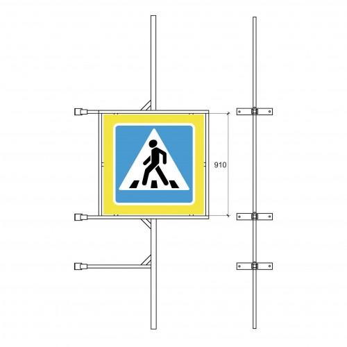 Кронштейн для крепления дорожного знака  5.19 и двух знаков  на стойку.
