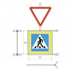 Кронштейн для крепления дорожного знака  5.19 и дополнительного знака  на стойку-опору
