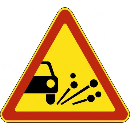 Временный предупреждающий Дорожный знак 1.18 - Выброс гравия