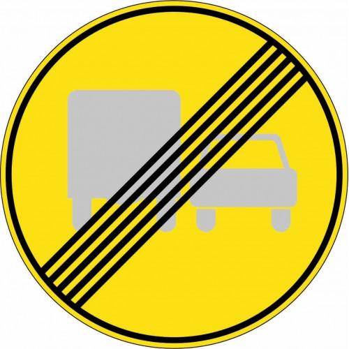 Временный дорожный знак 3.23 - Конец зоны запрещения обгона грузовым автомобилям