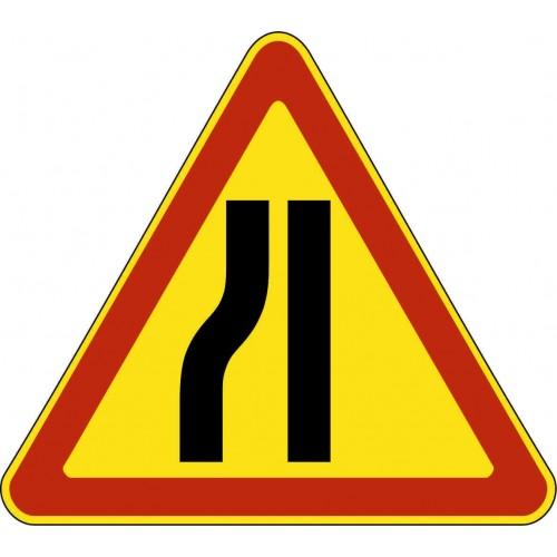 Временный предупреждающий Дорожный знак 1.20.3 - Сужение дороги слева
