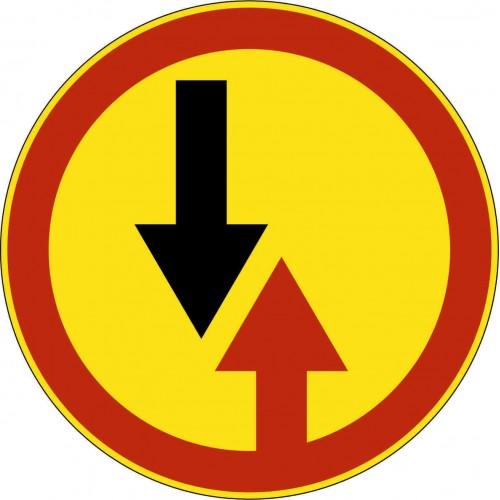 Временный Дорожный знак 2.6- Преимущество встречного движения