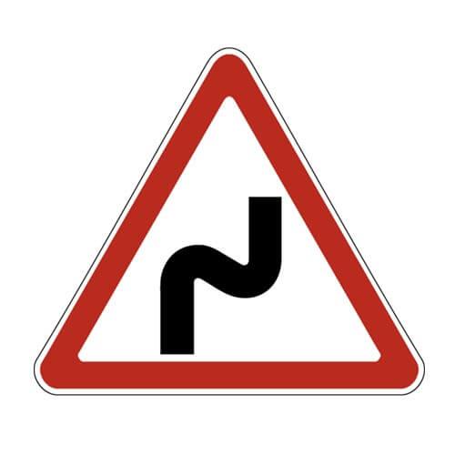 Дорожный знак 1.12.1 - Опасные повороты с первым поворотом направо