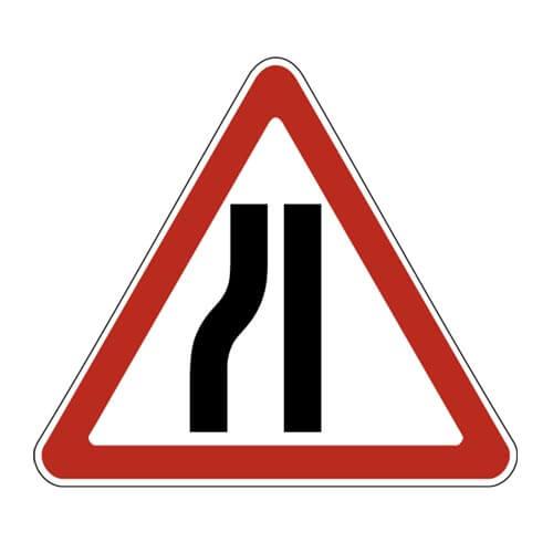Дорожный знак 1.20.3 - Сужение дороги слева