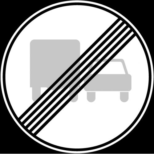 Дорожный знак 3.23 - Конец зоны запрещения обгона грузовым автомобилям