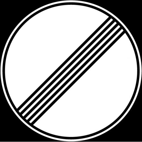 Дорожный знак 3.31 - Конец зоны всех ограничений
