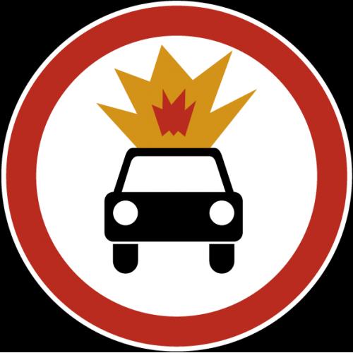 Дорожный знак 3.33 - Движение транспортных средств с взрывчатыми и легковоспламеняющимися грузами запрещено