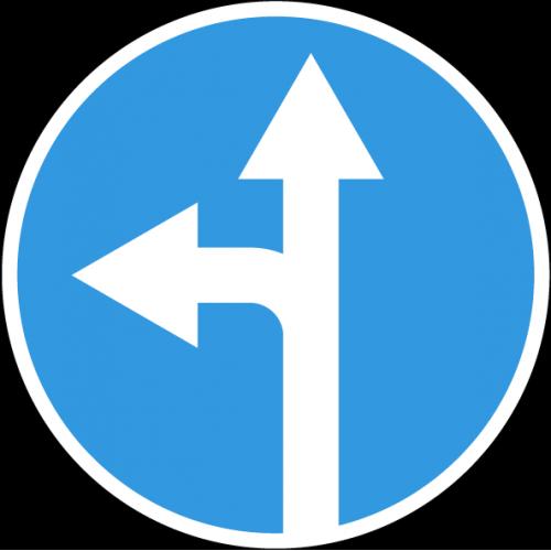 Дорожный знак 4.1.5 - Движение прямо или налево