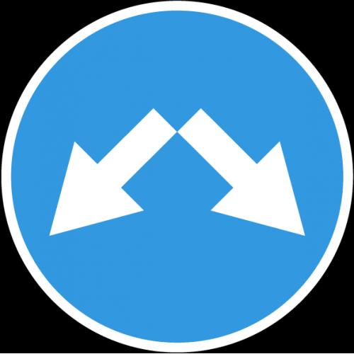 Дорожный знак 4.2.3 - Объезд препятствия справа или слева