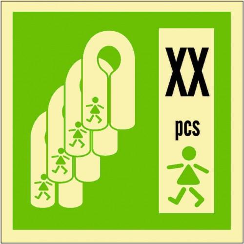 Знак ИМО Спасательные жилеты для детей с указанием количества
