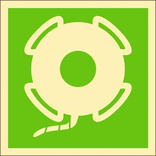 Знаки ИМО Спасательный круг с линем