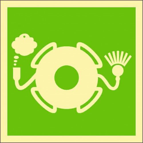 Знак ИМО Спасательный круг с огнем и дымовой шашкой