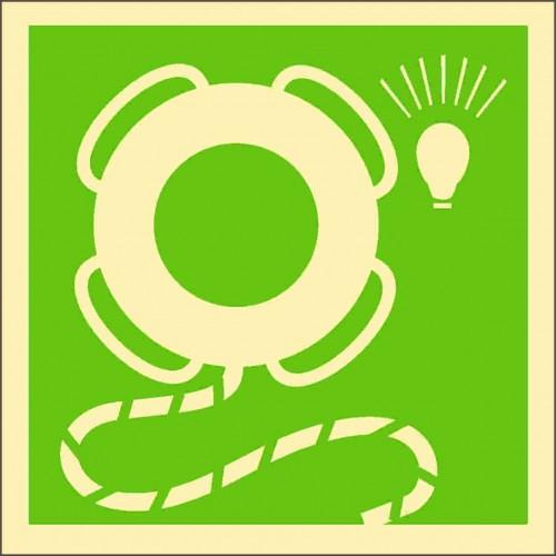 Знак ИМО Спасательный круг с огнем и линем